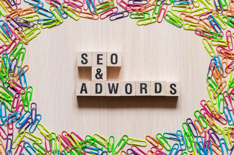 Seo and Adwords word concept stock photo
