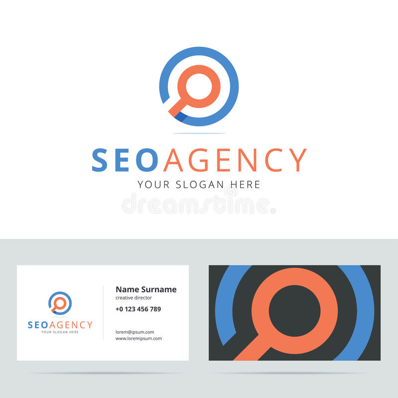 SEO agencyjny logo i wizytówka szablon ilustracji