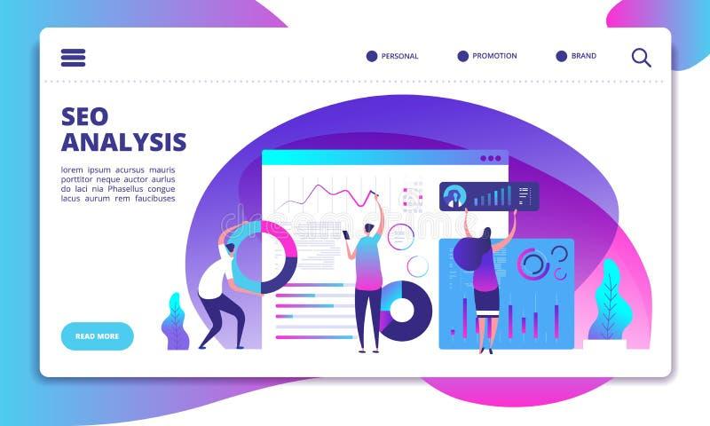 SEO Analysis Internetmarknadsföring, modern social teknologi Begrepp för vektor för sida för Seo servicelandning stock illustrationer