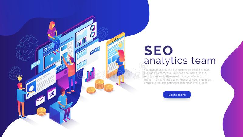Seo analysis and optimization landing page template stock illustration