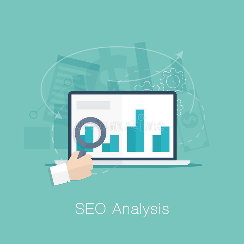 SEO analysis process vector concept with cool flat royalty free illustration