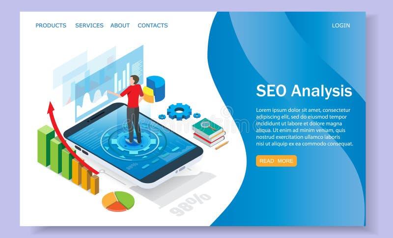 SEO analysis vector website landing page design template stock illustration