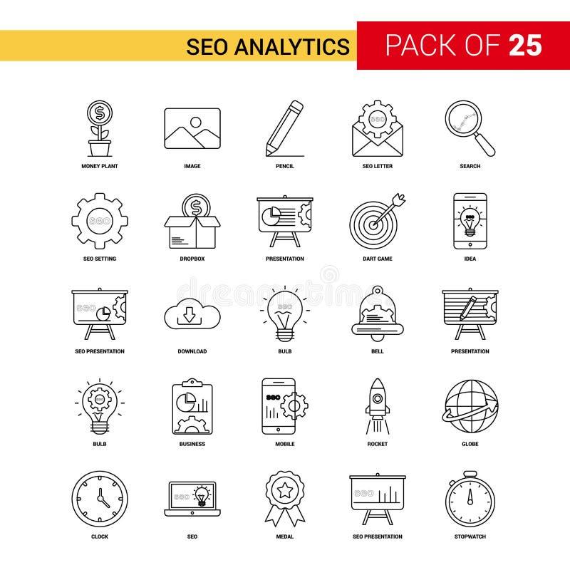 SEO Analytics Black Line Icon - insieme dell'icona del profilo di 25 affari illustrazione di stock