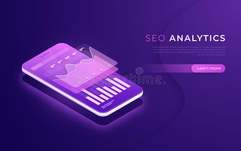 SEO-analytics, gegevensanalyse, digitaal marketing strategie isometrisch concept royalty-vrije illustratie