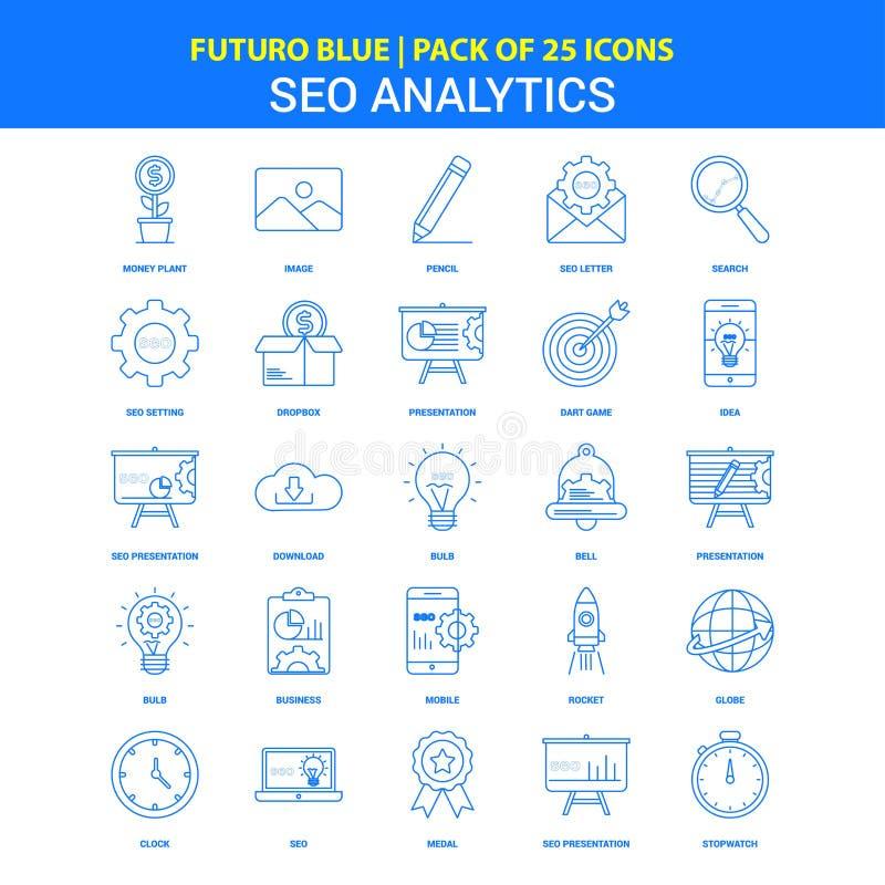 SEO Analytics Icons - Futuro Blue 25 Icon pack stock illustration
