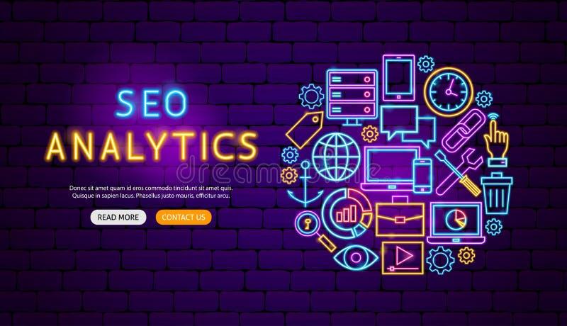 Seo Analytics Neon Banner Design. Vector Illustration of Computer Promotion vector illustration