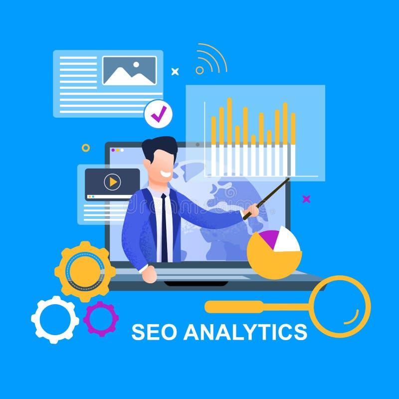 SEO Analytics Weltnachrichten-Investitions-Bewegung vektor abbildung