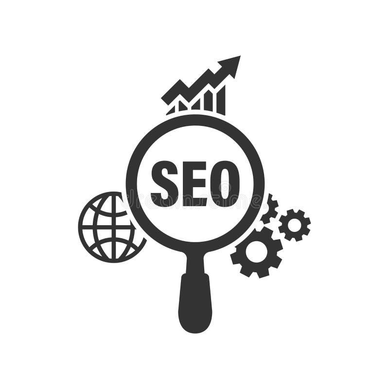 Seo-Analyticsikone in der flachen Art Social Media-Vektorillustration auf weißem lokalisiertem Hintergrund Suchanalyse-Geschäftsk vektor abbildung