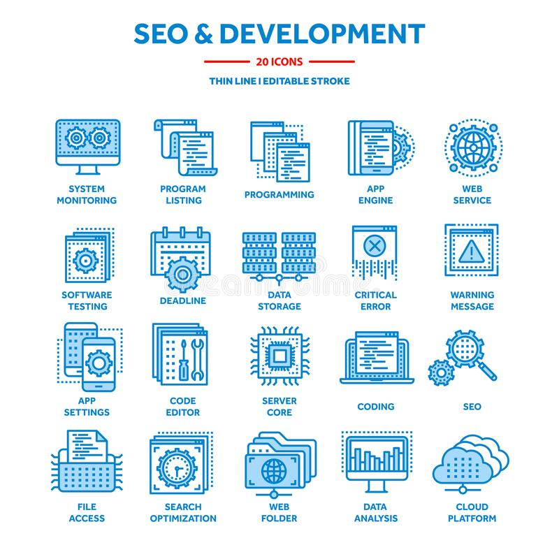 Seo and app development. Search engine optimization. Internet, e-commerce.Thin line blue web icon set. Outline icons royalty free illustration