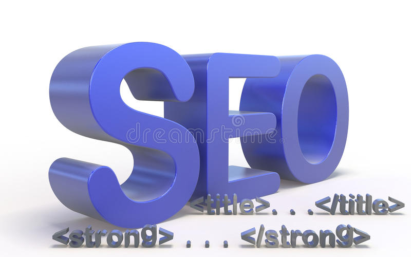 Seo attributes. Important Seo attributes on a white background royalty free stock image