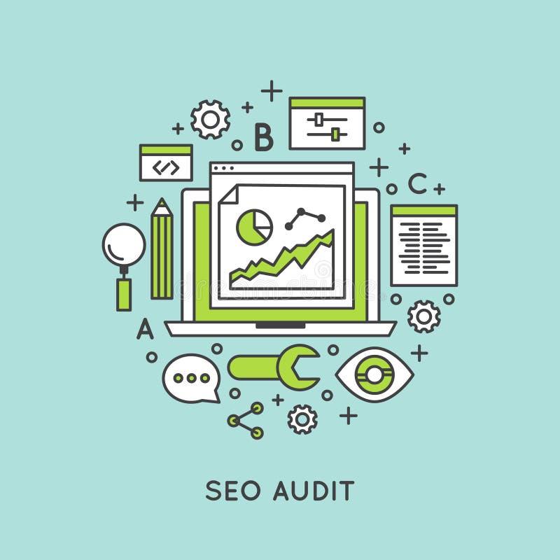Seo Audit en Websiteomzetting Rate Improvement royalty-vrije illustratie