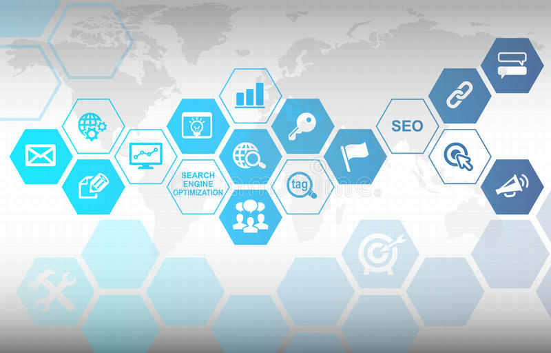 SEO Background. SEO Concept Background with various useful icons