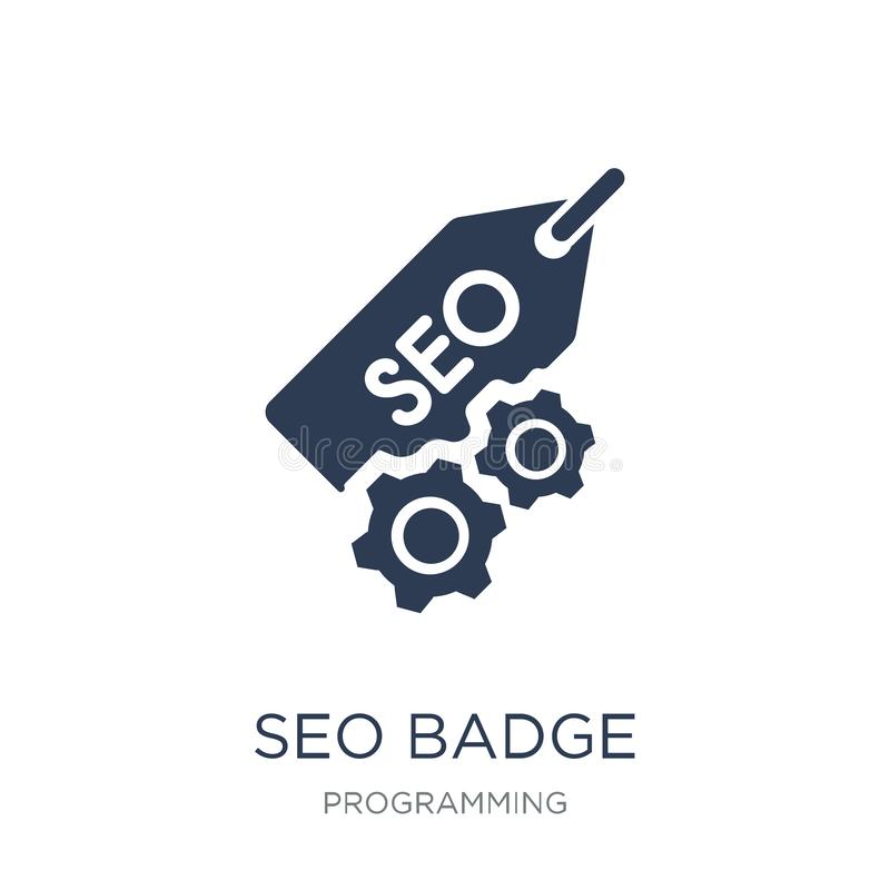 SEO Badge icon. Trendy flat vector SEO Badge icon on white background from Programming collection. Vector illustration can be use for web and mobile, eps10 vector illustration
