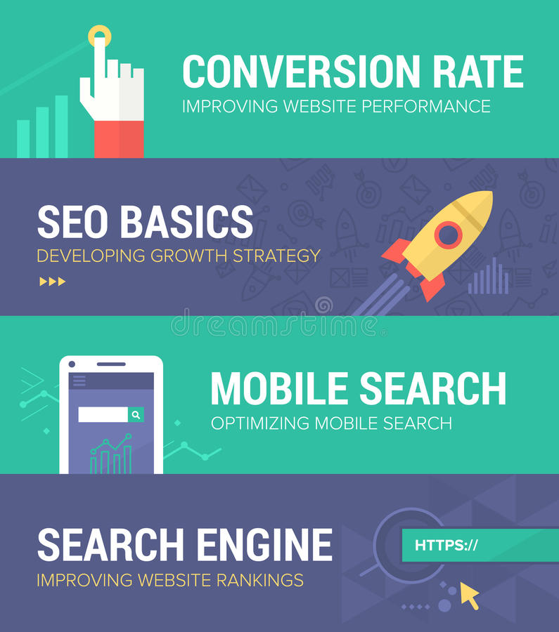 Seo Banners. Set of banners in flat design style covering such themes as: conversion rate increase, developing seo strategy, improving mobile search and search