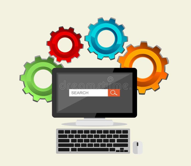 SEO-begrepp, sökandemotor, sökandeprocess royaltyfri illustrationer