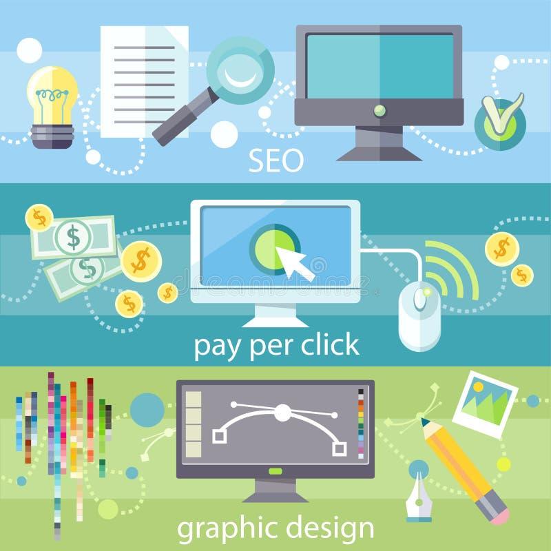 SEO, betaalt per klik en grafisch ontwerp royalty-vrije illustratie
