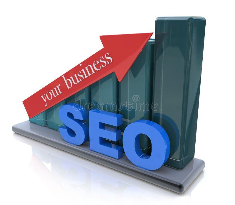 SEO-bevordering in uw zaken stock illustratie