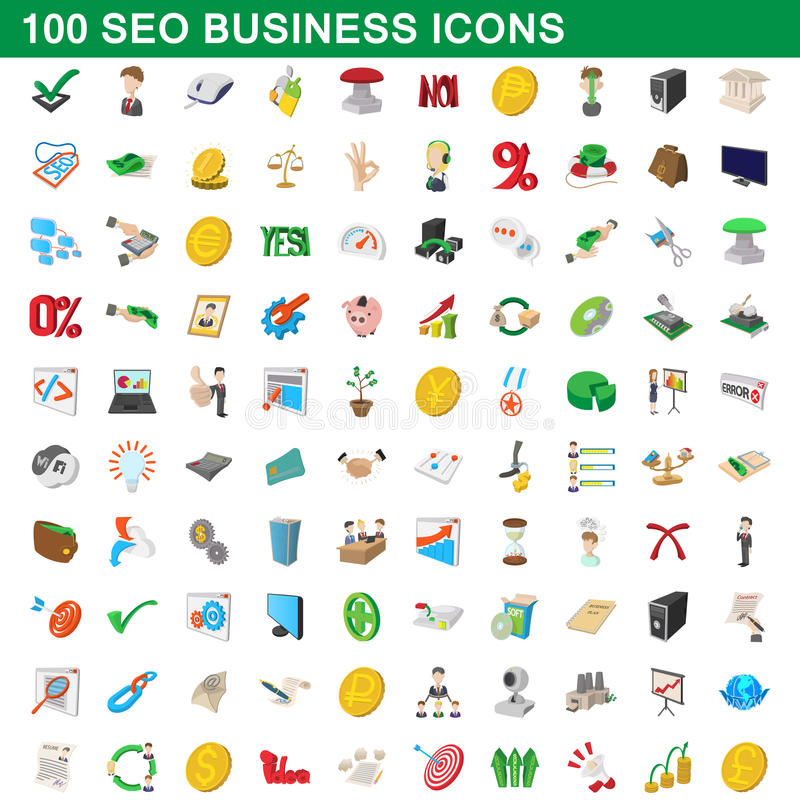 100 seo biznesowych ikon ustawiających, kreskówka styl royalty ilustracja