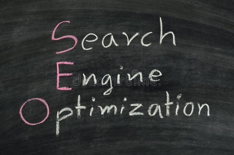 SEO on blackboard. SEO,search engine optimization concept written on blackboard stock photo