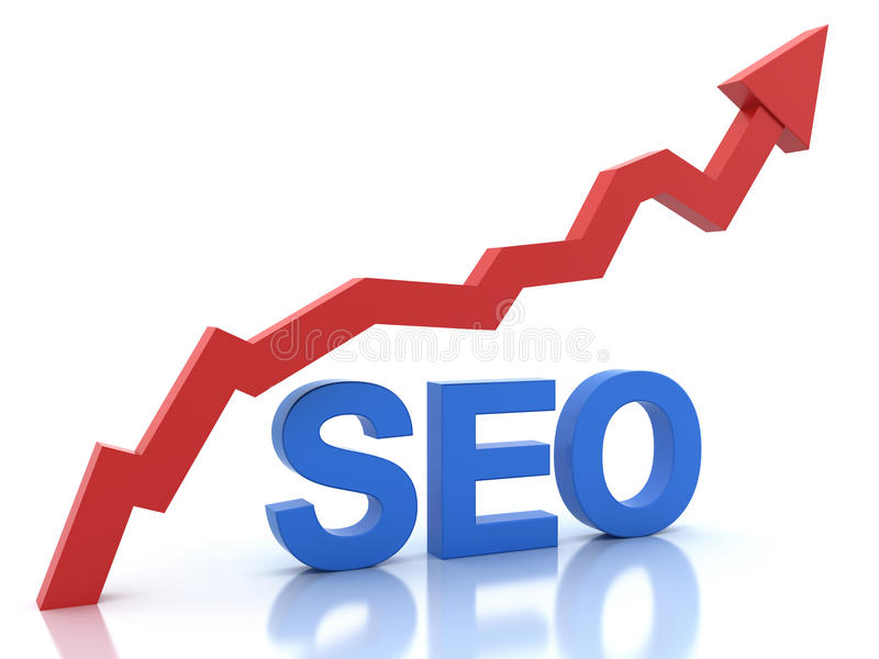 Seo in blue color and a graph. The word seo in blue color and a graph in red color isolated on white