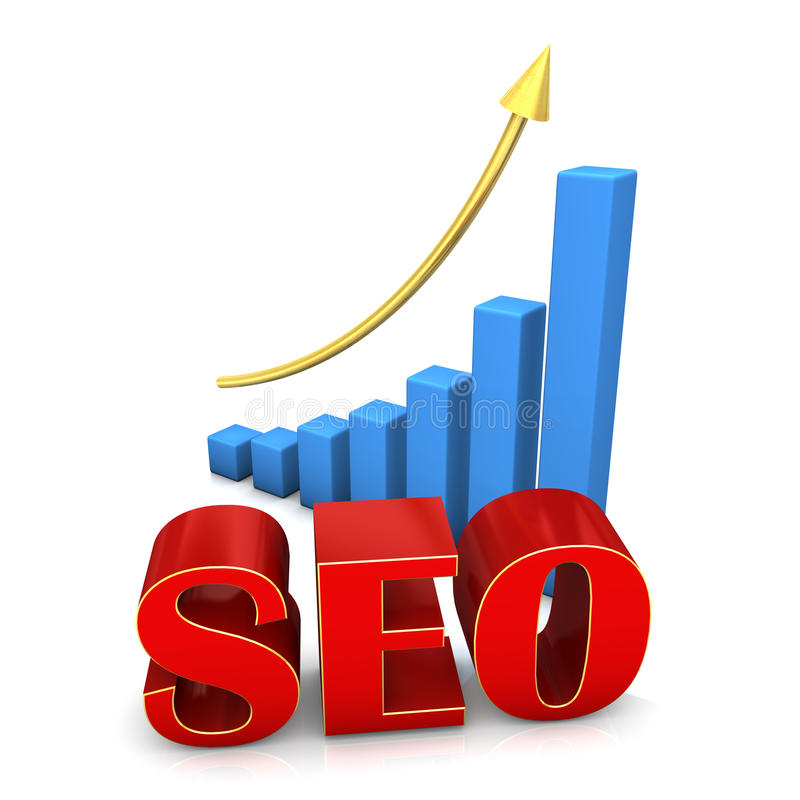 SEO CHART. Red text SEO with blue chart and golden arrow stock illustration