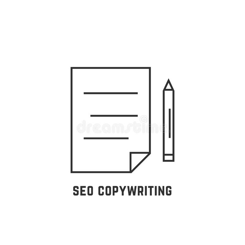 Seo che copywriting con la linea sottile documento illustrazione di stock