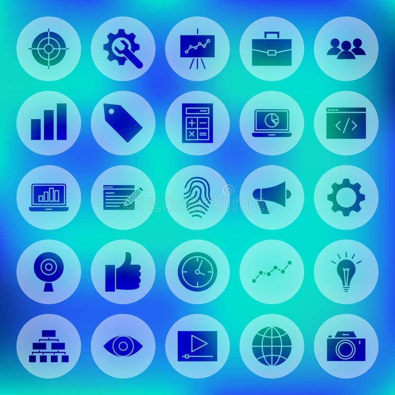 SEO Circle Web Icons sólido stock de ilustración