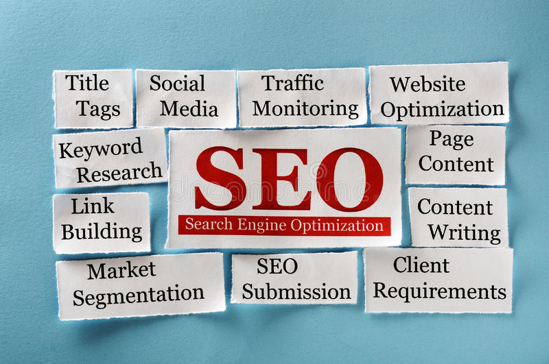 Seo collage stock images