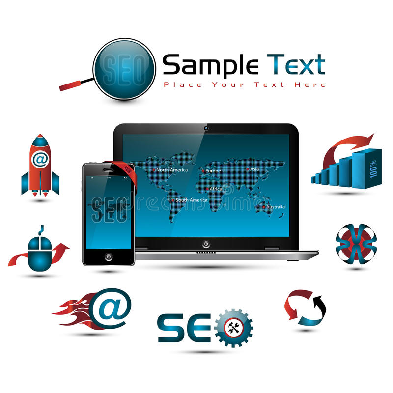 Seo collection. Symbols, world map, laptop & smart phone illustration, EPS 10 vector illustration