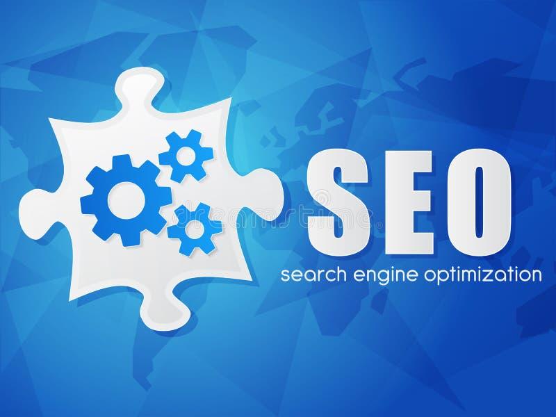 SEO con el rompecabezas y el mapa del mundo, optimización del Search Engine, plana ilustración del vector