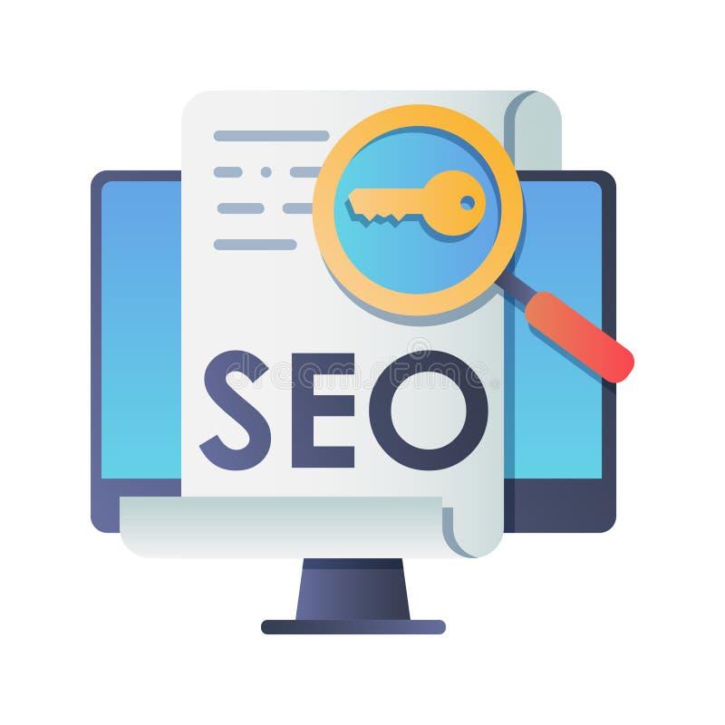 SEO, conceito da classificação da otimização do Search Engine, ideia de para promover o tráfego ao Web site ilustração stock