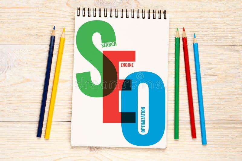 SEO, conceito da otimização do Search Engine fotografia de stock