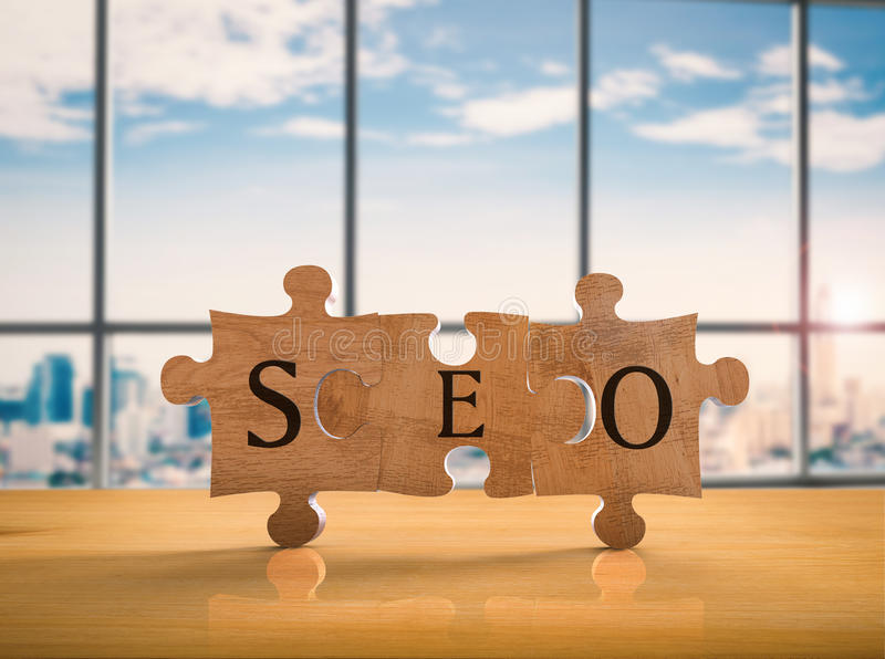 Seo concept. 3d rendering jigsaw pieces with seo concept stock photography