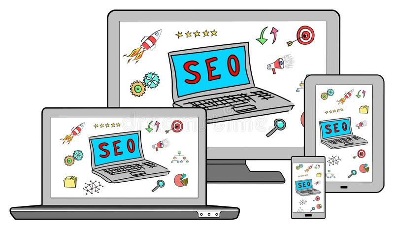Seo concept on different devices. Isolated on white stock image