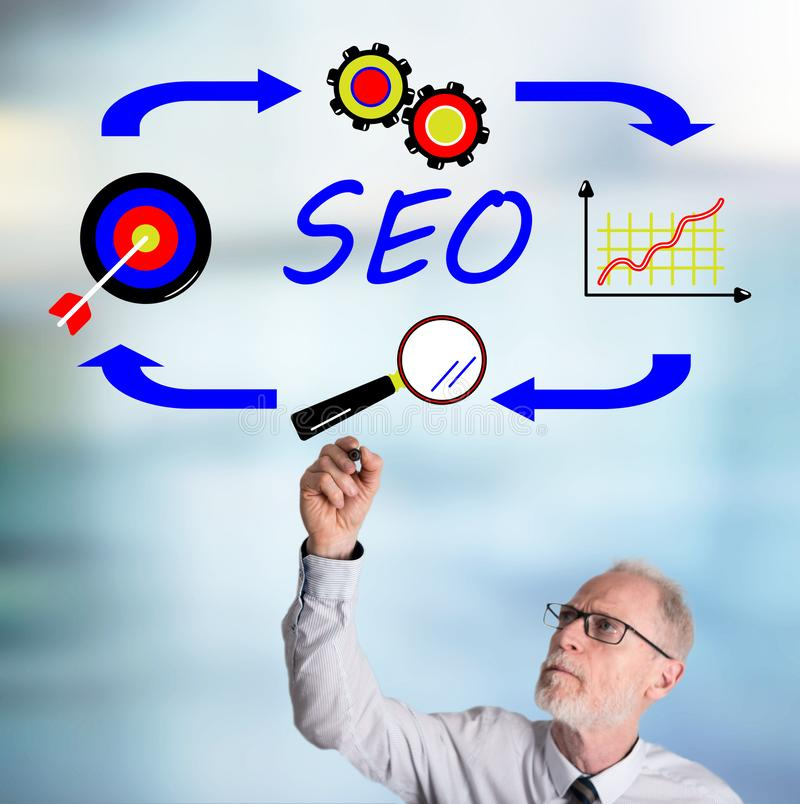 Businessman drawing seo concept royalty free stock photography