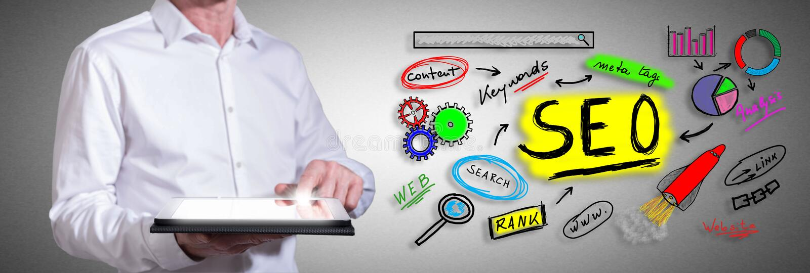 Seo concept with man using a tablet. Man using a tablet with seo concept royalty free stock image