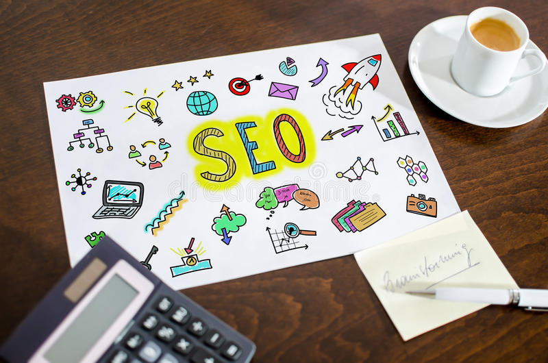 Seo concept on a paper. Placed on a desk royalty free stock images