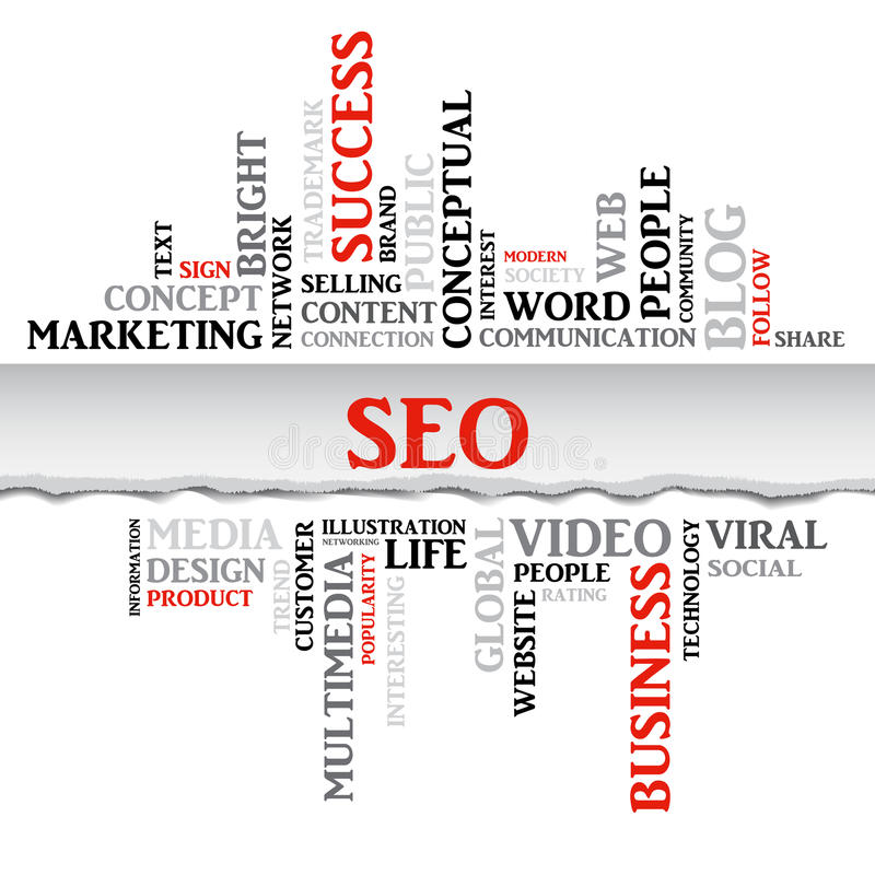 SEO concept related words in tag cloud. With different association internet and business terms. The effect of torn paper stock illustration
