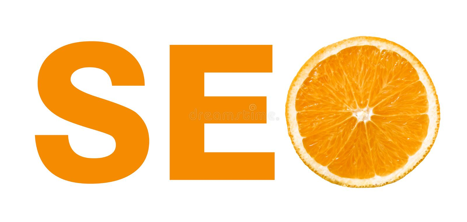 Seo concept with slice of orange stock images