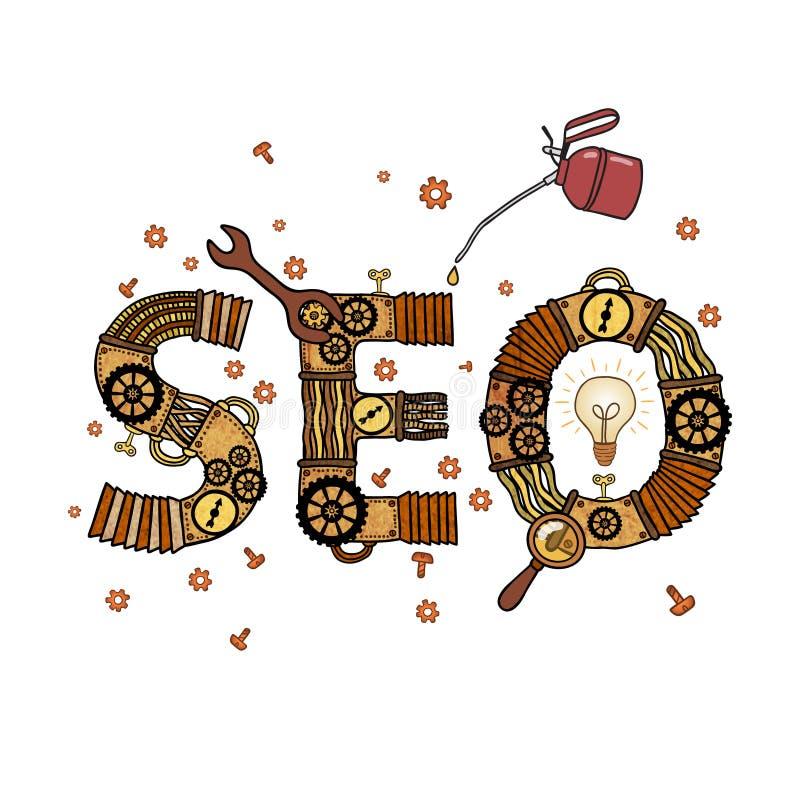 SEO-concepten retro symbool royalty-vrije illustratie