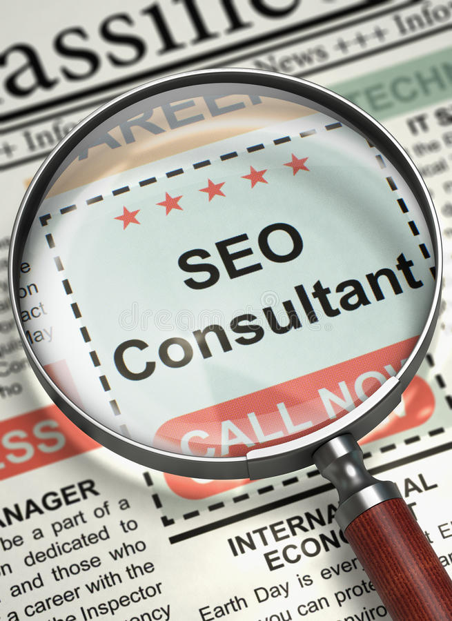 SEO Consultant Join Our Team. 3D. Newspaper with Classified Advertisement of Hiring SEO Consultant. Illustration of Jobs of SEO Consultant in Newspaper with stock images