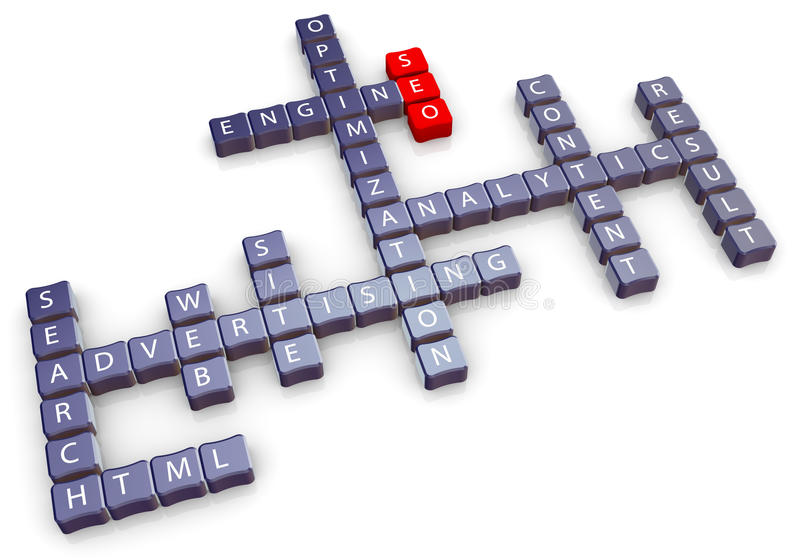 Seo crossword stock illustration