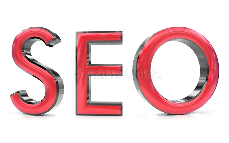 Seo 3d word. The seo word 3d rendered red and gray metallic color , isolated on white background royalty free illustration
