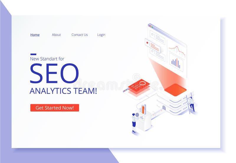 SEO-de landende pagina van het analyticsteam royalty-vrije stock afbeelding