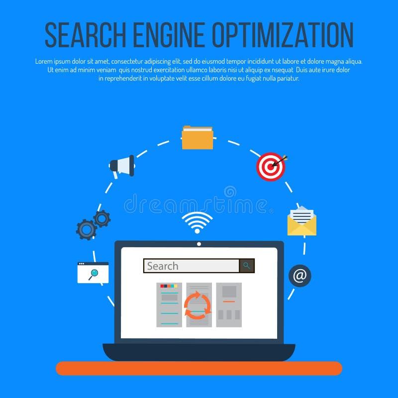 SEO-de optimalisering van de conceptenzoekmachine stock illustratie