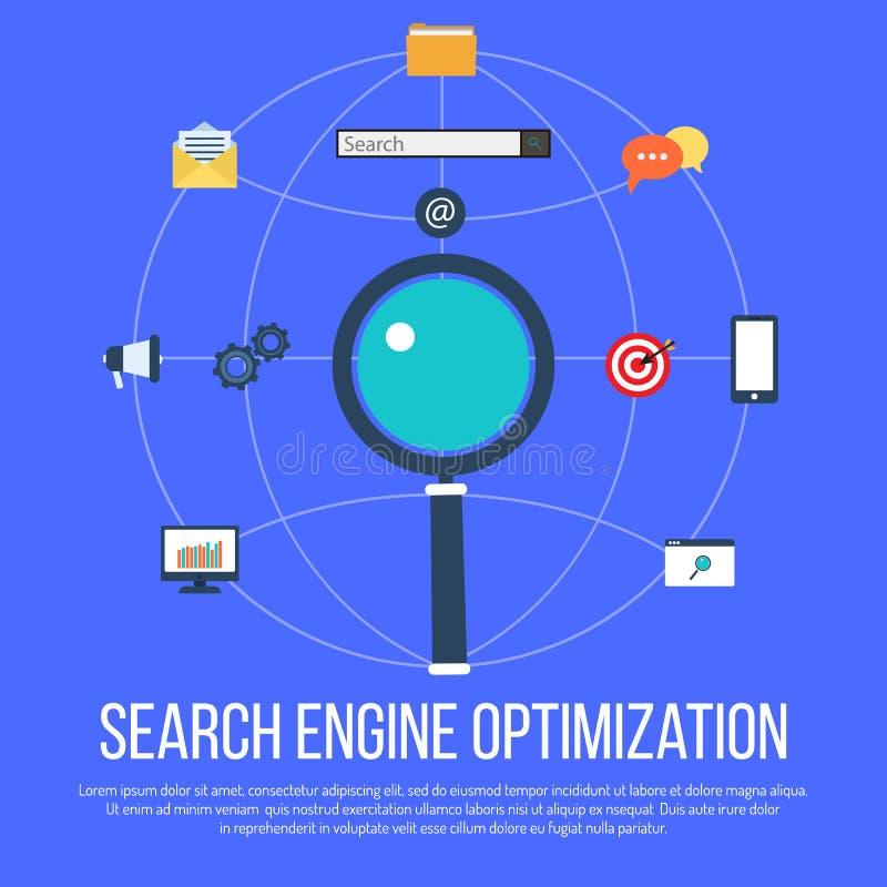 SEO-de optimalisering van de conceptenzoekmachine vector illustratie