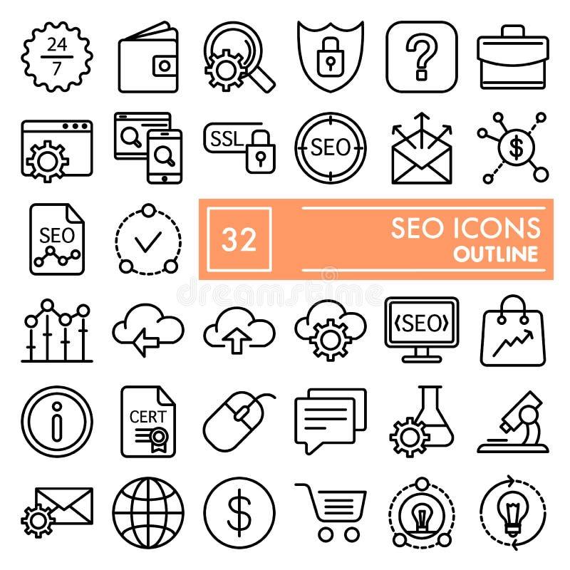 SEO-de reeks van het lijnpictogram, marketing symboleninzameling, vectorschetsen, embleemillustraties, optimalisering ondertekent stock illustratie