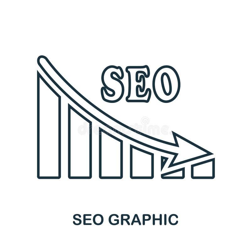 Seo Decrease Graphic symbol Mobil app, printing, webbplatssymbol Enkel beståndsdelallsång Monokrom Seo Decrease Graphic symbolsil royaltyfri illustrationer