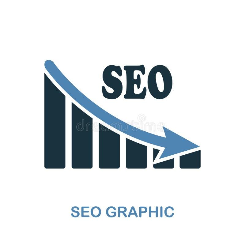 Seo Decrease Graphic symbol Monokrom stildesign från diagramsymbolssamling Ui För pictogramseo för PIXEL perfekt enkelt G för min stock illustrationer