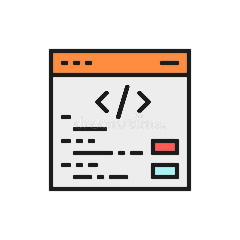Seo del vector, programando, codificación, reparación de la página web, línea de color plana del seo icono stock de ilustración